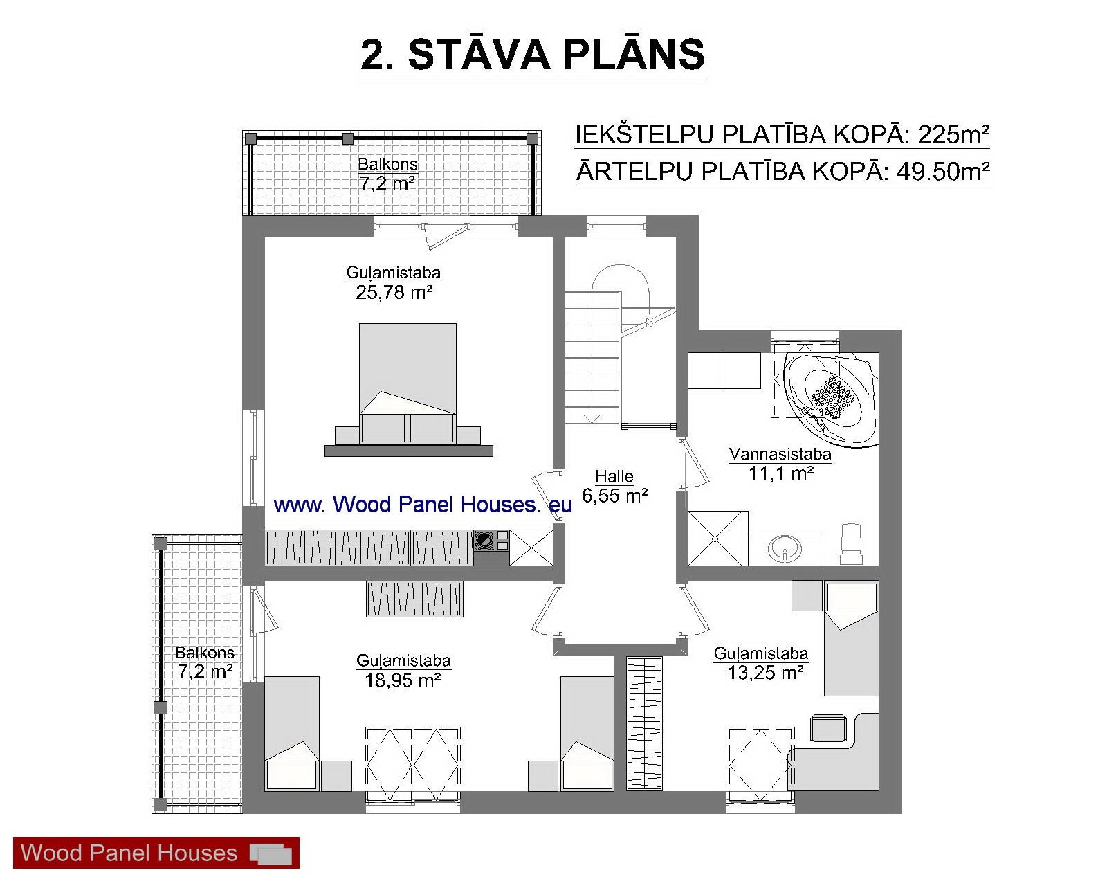 mājas 2 stāva plāns