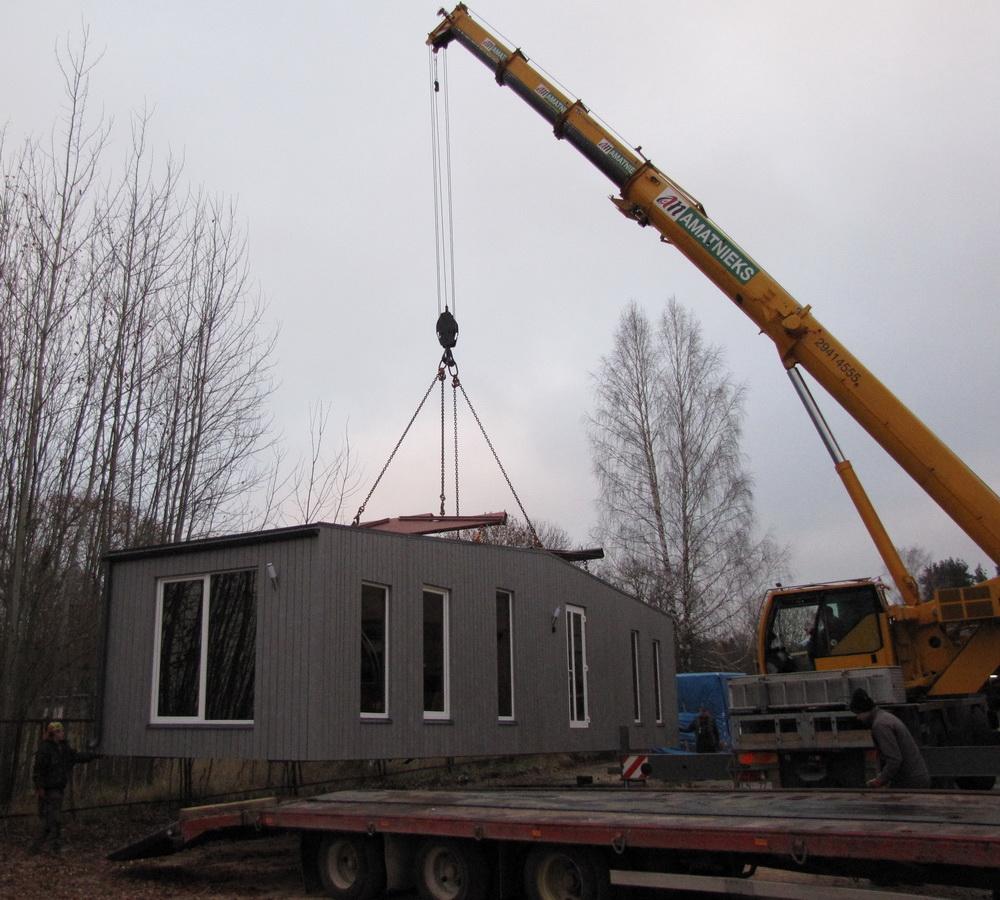 moduļu māju pārvešana
